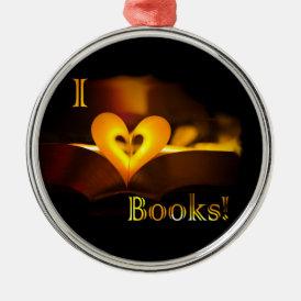I Love Books - I 'Heart' Books (Candlelight) Metal Ornament