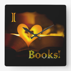 I Love Books - I 'Heart' Books (Candlelight) Square Wall Clock
