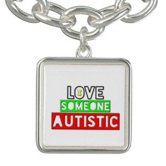 I love Someone Autistic Square Bracelet Charm