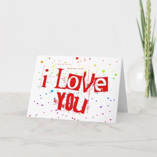 I LOVE YOU. raining rainbow hearts. Holiday Card