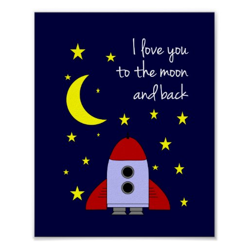 I Love You Moon And Back Wall Art