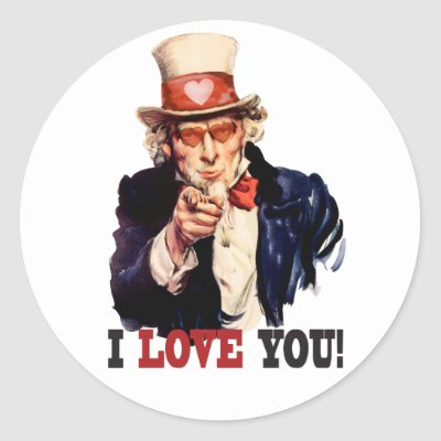 I Love You - Uncle Sam Style Valentine Sticker by spacedust