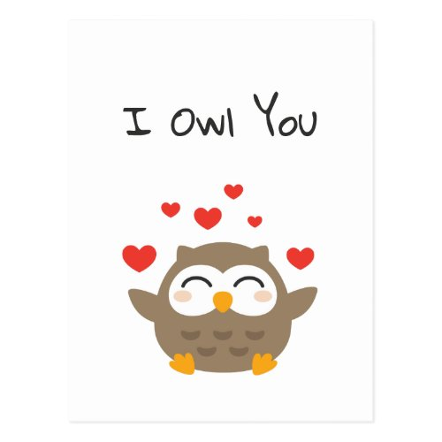 I Owl You Illustration Postcard