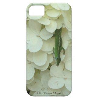 I-Phone 5/5S Case, Lizard on White Hydrangea