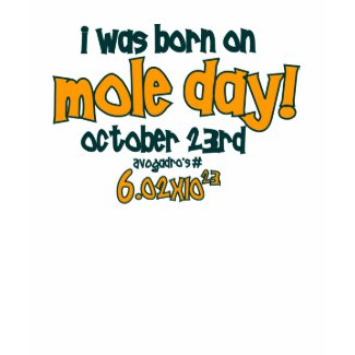 I Was Born On Mole Day ! (Avogadro's Number) shirt