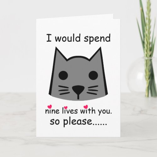 I Would Spend 9 Lives With You Valentine's Day Cat Card