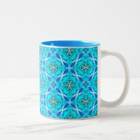 Ice Blue Infinity Signs Aqua Flowers Two-Tone Coffee Mug