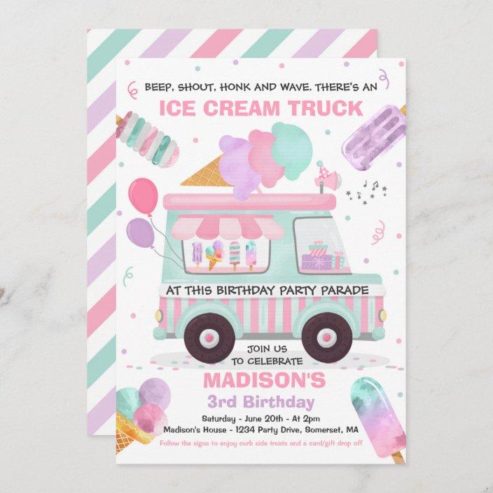 ice cream birthday party drive by birthday parade invitation zazzle com