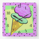 Ice Cream Cone Deco Square Wall Clock