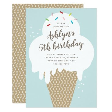 Ice cream cone kids blue birthday party invitation