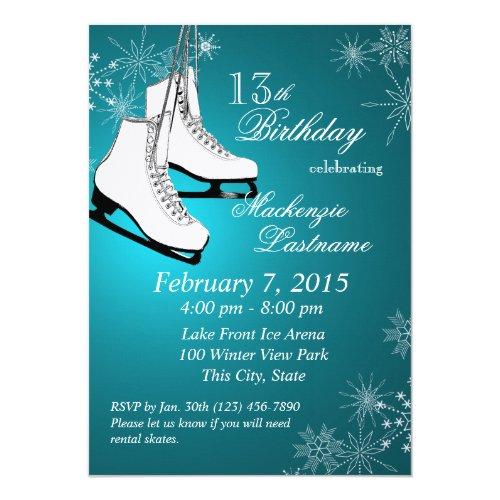 Ice Skates and Snowflakes Teal Birthday Invitation
