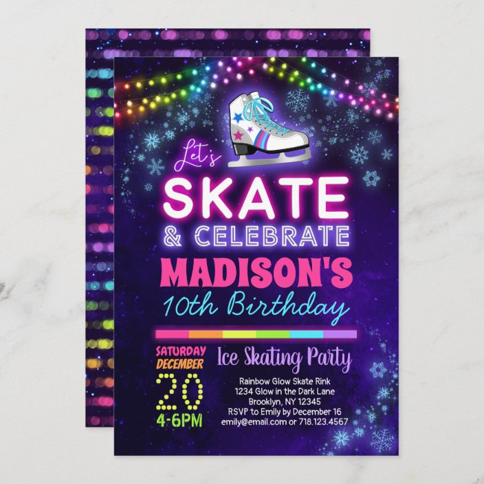 ice skating birthday party invitation for girls zazzle com