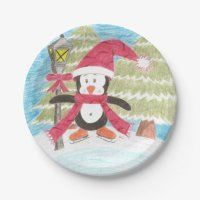 Ice skating penguin paper plates