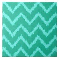 Ikat Chevrons - Turquoise and aqua Ceramic Tile | Zazzle