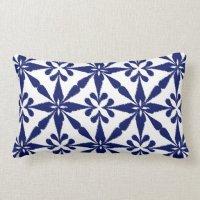Ikat Star Pattern - Navy Blue and White Lumbar Pillow | Zazzle