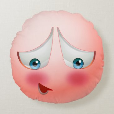 I'm blushing emoji round pillow