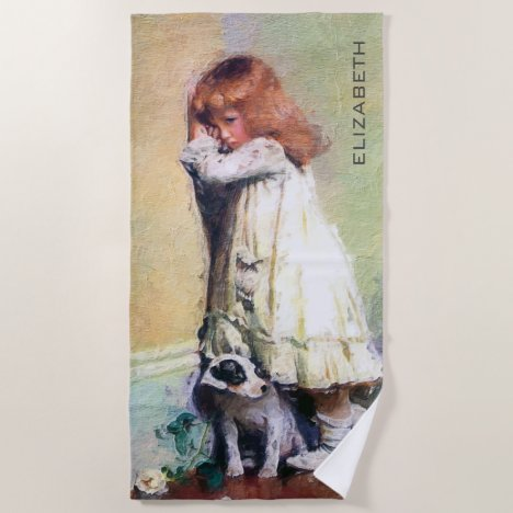 In Disgrace Vintage Oil Painting Personalized Beach Towel