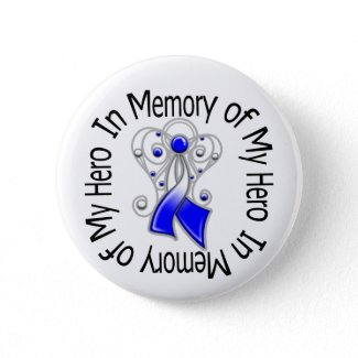 In Memory of My Hero ALS Angel Wings button