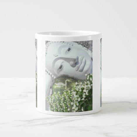 In the Garden - Quan Yin & Flowers Giant Coffee Mug