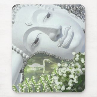 In the Garden - Quan Yin & Flowers mousepad