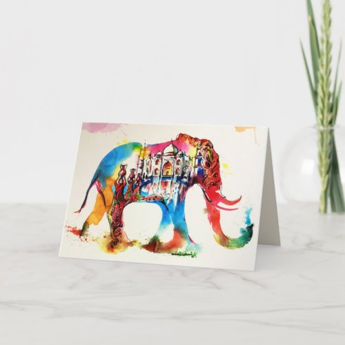 India Elephant Vintage Travel Love Watercolor Card
