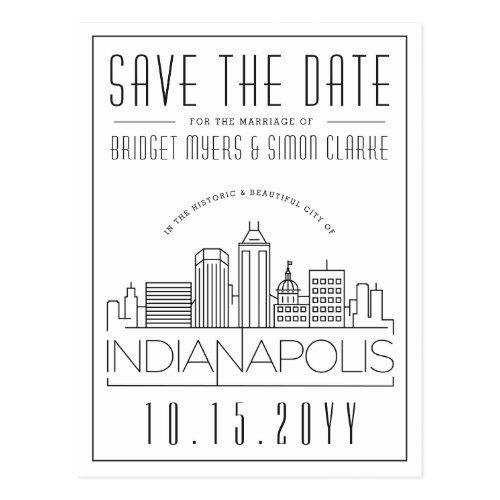 Indianapolis Wedding Skyline Save the Date Postcard