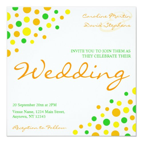 Informal Yellow Orange Green Marriage Wedding Card