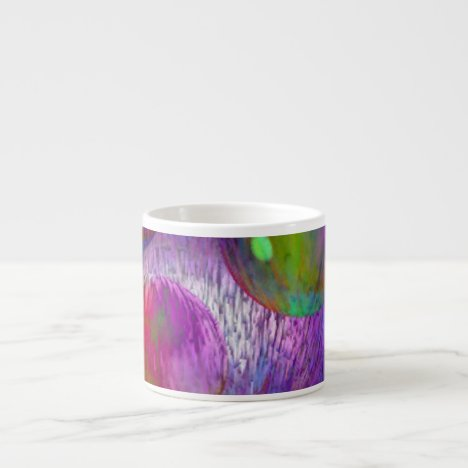 Inner Flow I Abstract Fractal Green Purple Galaxy Espresso Cup