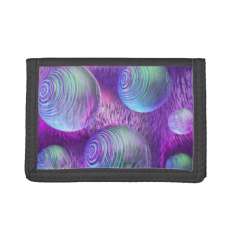 Inner Flow II, Abstract Indigo Lavender Universe Trifold Wallet
