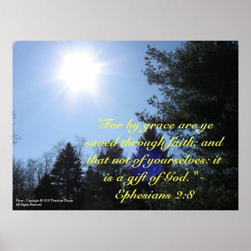 Inspirational Bible verse poster Ephesians 28 Zazzle