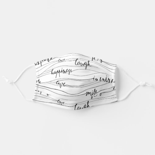 Inspirational Pattern of Uplifting Words in Script Adult Cloth Face Mask