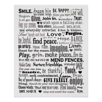 Inspire word art collage poster