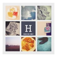 Instagram Collage Photos Family Monogram Modern Panel Wall ...