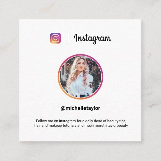 Instagram photo trendy social media modern white calling card