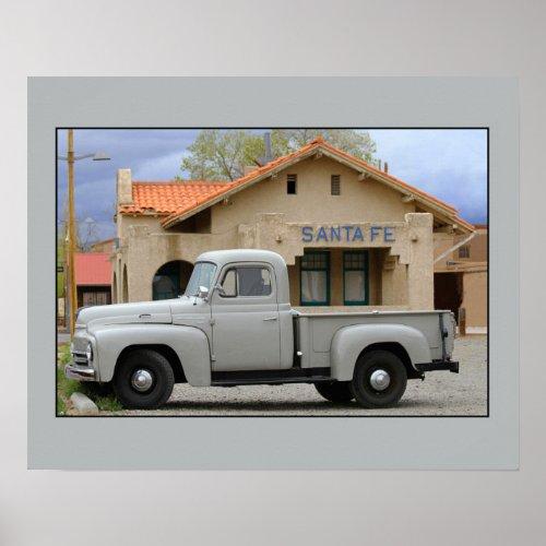 International Harvester L-110 Truck Santa Fe Depot Poster