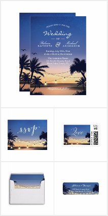 Invitation Suite: Romantic Sunset Palm Trees Beach
