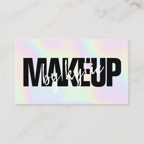 Iridescent makeup artist bold signature script business card