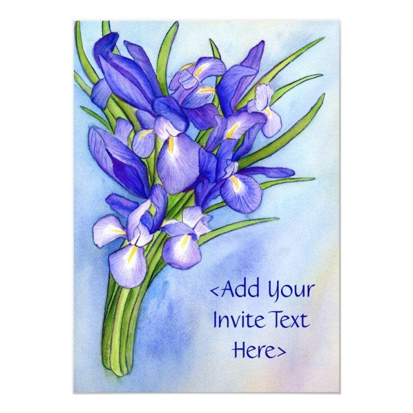 Iris Bouquet Flower Painting Invitation