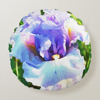 Iris Watercolor in Blue and Lavender Round Pillow