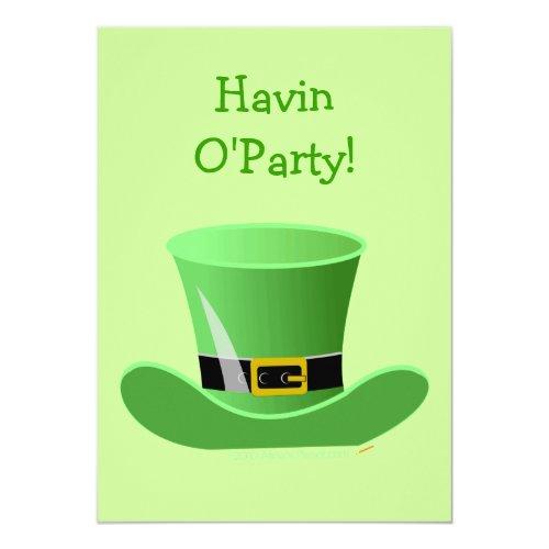 Irish Leprechaun Hat Funny St. Patrick's Day Party Invitation