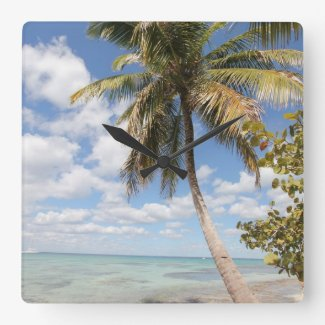 Isla Saona - Palm Tree at the Beach Wall Clock