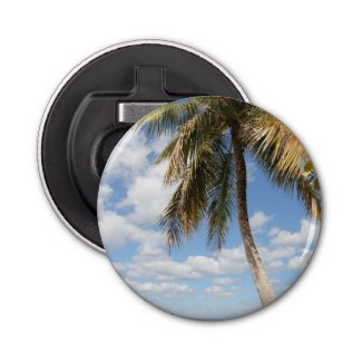 Isla Saona Palm Tree at the Beach Button Bottle Opener