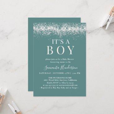 It`s a boy Blue Glitter Baby Shower Invitation