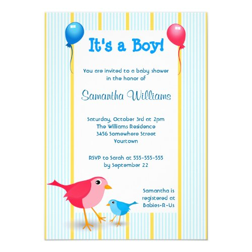 It's a Boy Baby Birth Announcement Shower Invite