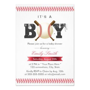 It's a Boy Baseball Stitching Sports Baby Shower Invitation