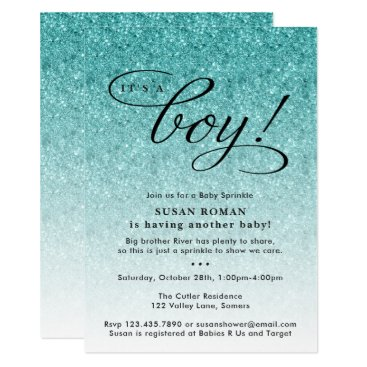 It's a Boy Blue Ombre Glitter Baby Sprinkle Shower Card