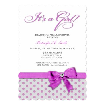 It's a Girl! Elegant Pink and Gray Polka-Dots Invitation
