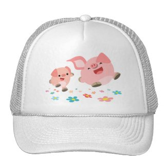 It's Spring!!-Two Cute Cartoon Pigs Hat hat