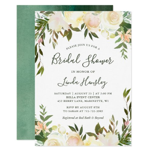 Ivory Chic Floral Garden Greenery Bridal Shower Invitation
