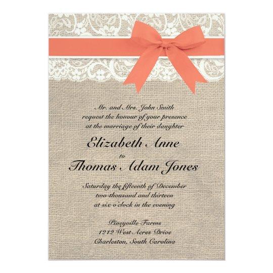 D I Y Rustic Burlap Sunflower Wedding Invitation